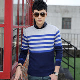 Mens Casual Half Pattern and Stripe Sweater