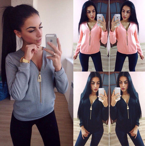 Cool Casual Zip Long Sleeve Sweatshirt