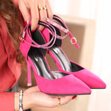 Charming Diamond Ankle Strap Point Toe High Heels