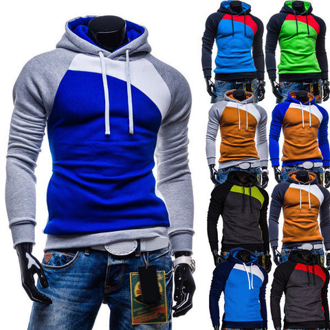 Mens Slim Colorful Pullover Hoodie
