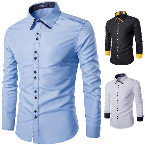 Mens Slim Trendy Colored Cuffs Dress Shirt