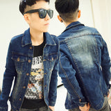 Mens Casual Denim Collared Jacket