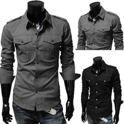 Mens Slim Double Pocket Protector Dress Shirt
