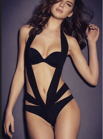 Edgy Black One-Piece Monokini Swimsuit