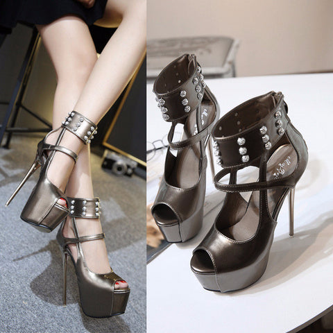 Edgy Design Platform Ankle Strap Stiletto High Heels