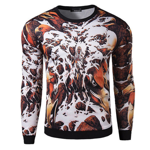 Mens Slim Edgy Eagle Long Sleeve Shirt
