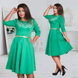 Elegant Mid Sleeve Plus Size Party Dress