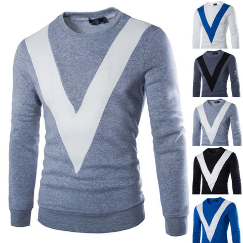 "Mens ""V"" Graphic Pullover Sweater"