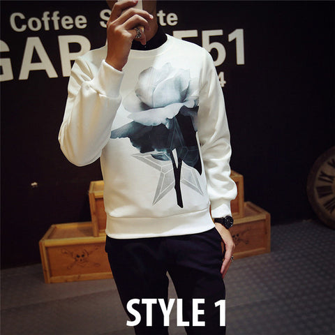 Mens Hip Graphic Pullover Sweater