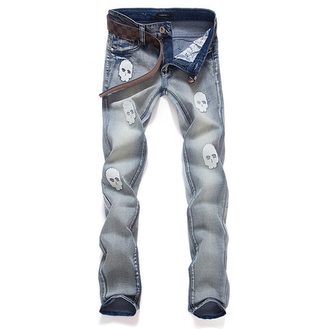 Mens Skull Grapic Jeans