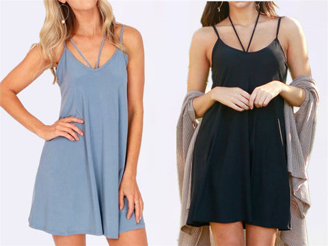 Womens Simple Stylish Sleeveless Summer Dress