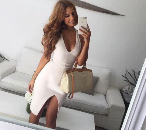 Womens Sexy V Neck Bodycon Club Dress