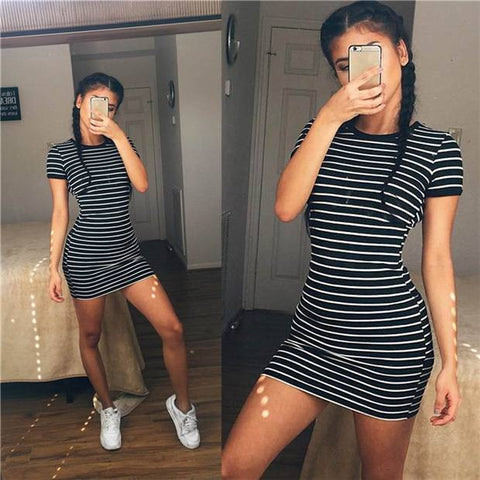 Womens Urban Stripe Short Sleeve Casual Mini Dress