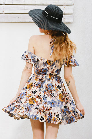 Womens Cute Floral Pattern Backless Beach Dress