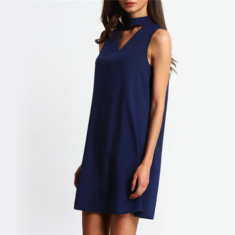 Womens Cool Casual Summer Deep V Basic Dress