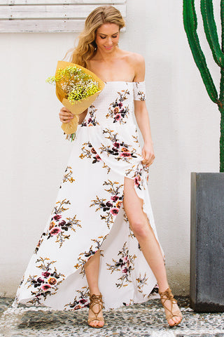 Womens Cute Off Shoulder Flower Print Long Dress