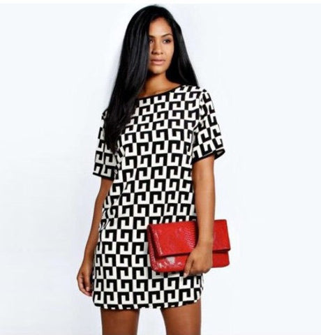 Womens Edgy Pattern Chiffon Cool Casual Dress