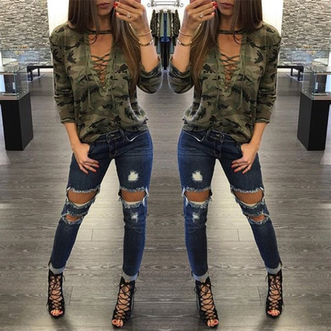 Womens Trendy V Neck Camo Crop Top