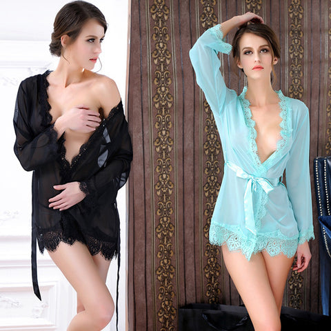 Womens Sexy Lace Robe Nightgown Lingerie
