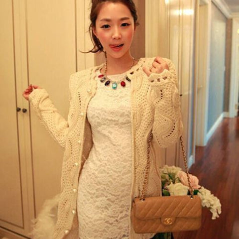 Womens Classy Knit Cardigan Long Sweater