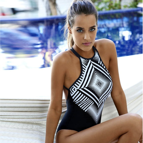 Womens Cool Print One-Piece Monokini Swimsuit