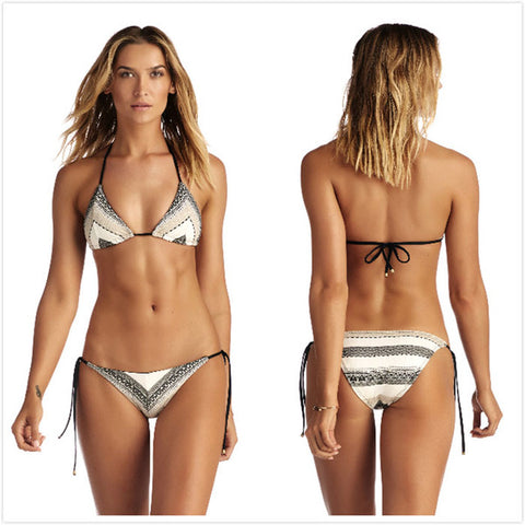 Womens Urban Stylish Print Design Split Bikini Swimsuit