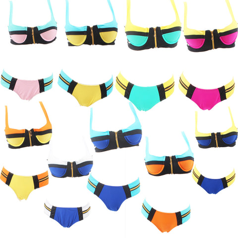 Womens Cool Zip Patchwork Trendy Beach Swimsuit Bikini