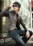 Mens Casual Faux Leather Zip-Up Jacket