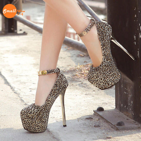 6abf99cce6c3 Leopard Club Ankle Strap Pump High Heels