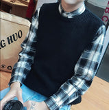 Mens Sleeveless Knitted Look Sweater