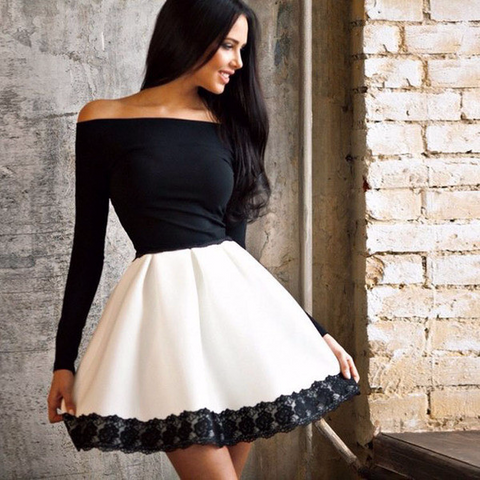 Lovely Black And White Over Shoulder Cocktail Party Dress