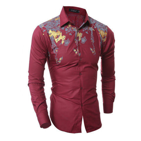 Mens Edgy Flower Print Dress Shirt
