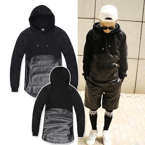 Mens Faux Leather Pullover Hoodie