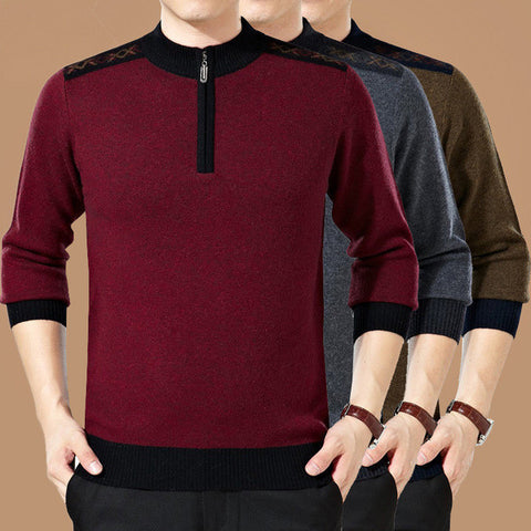 Mens Slim Casual Sweater With Partial Zipper