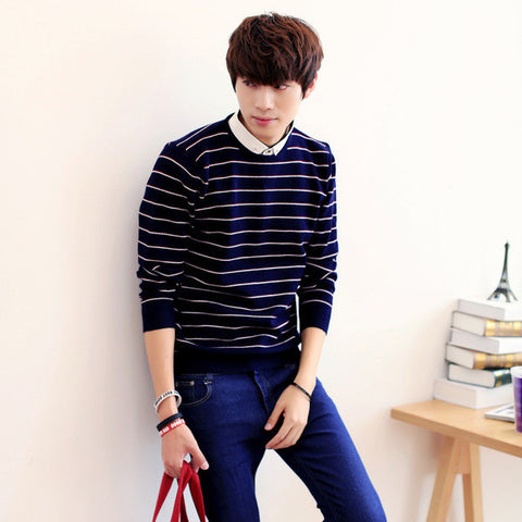 Mens Modern Stripe Patterned Sweater