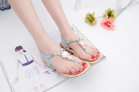 Stylish Owl Pearl Jewel Bohemian Beach Sandals