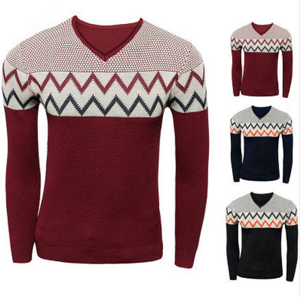 Mens Slim Hip Patterned Sweater