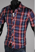 Mens Cool Plaid Style Dress Tee
