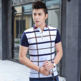 Mens Slim Polo with Large Plaid Design