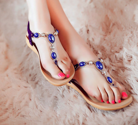 Beautiful Rhinestone Gem Summer Sandals