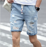 Mens Shredded Denim Shorts