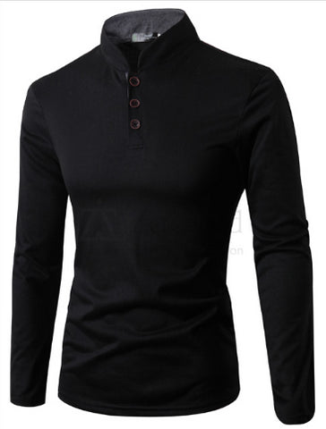 Mens Collarless Long Sleeve Polo