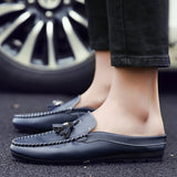 Mens Slim Faux Leather Slip-On Loafers