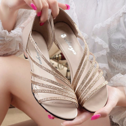 Cool Stylish Strap Design Kitten Heels