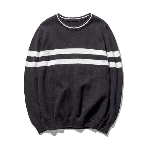 Mens Comfortable Double Stripe Sweater