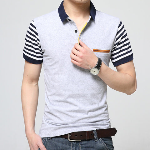 Mens Stripe Sleeve Polo