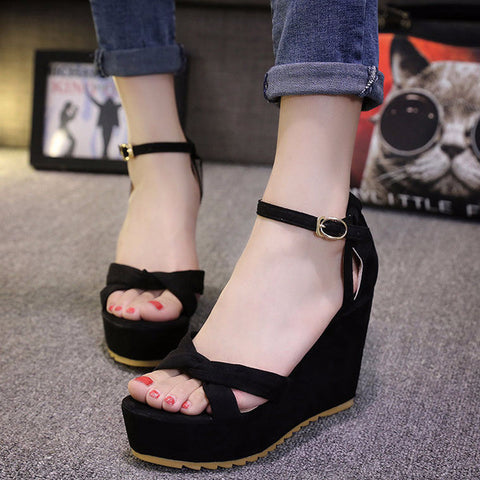 Stylish Casual Platform Ankle Strap Wedges
