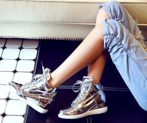 e21c36f9dc1 Stylish Shiny High Top Casual Sneakers