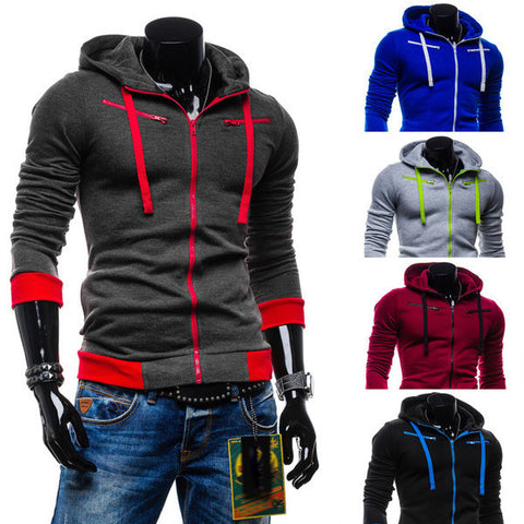Mens Stylish Slim Zip-Up Hoodie