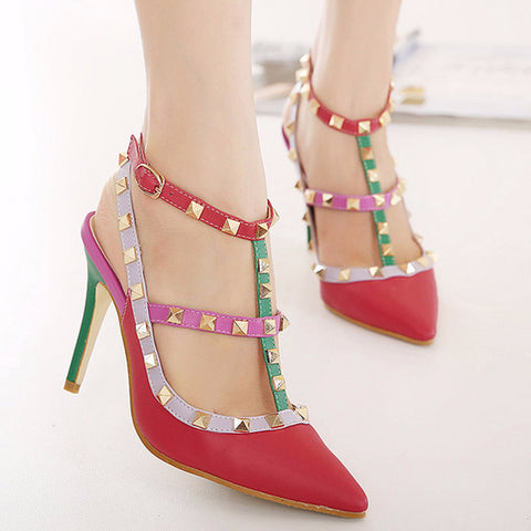 Stylish T-Strap Rivet Multicolor Heels